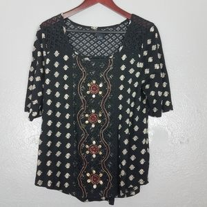 Lucky Brand Black Tribal Embellished Top Size XL